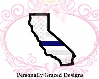 Instant Download California State Police Applique Thin Blue Line US Flag Embroidery Design 4 Sizes 4x4, 5x7, 6x10 Digital Download Back Blue