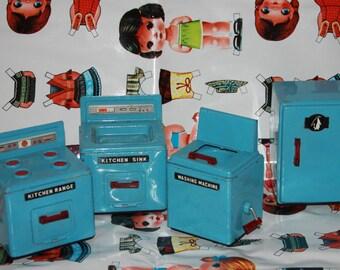 Retro Vintage blue tin metal kitchen set dolls house furniture fridge range cooker washing machine + sink 50's 60's