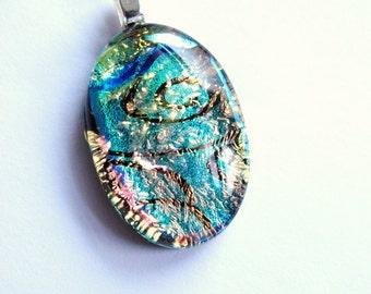 Hypnotic - Beautiful small dichroic glass pendant