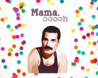 Funny Mothers Day Card, Freddie Mercury, Queen (Mum Card, Mom Card) (100% Recycled Paper)