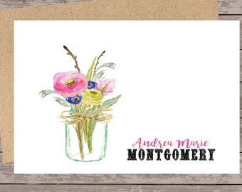Personalized stationery set/Custom Note Cards/custom stationery set, floral note cards/mason jar note card