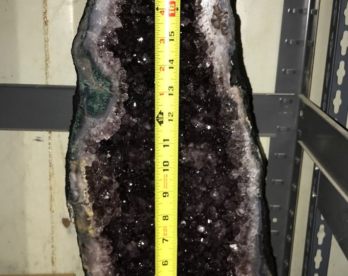 "Black Amethyst Geode 36LBS 19"" Tall Fung Shui \ Amethyst \ Amethyst Crystal \ Metaphysical \ Meditation \ Black Amethyst \ Natural Amethyst"