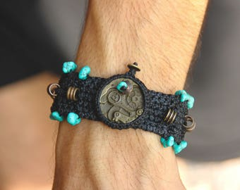 Steampunk Turquoise Bracelet - Tribal - Original - Industrial - Travel - Design - Macrame - Bronze - Boho - Ethnic - Tribal Fusion -
