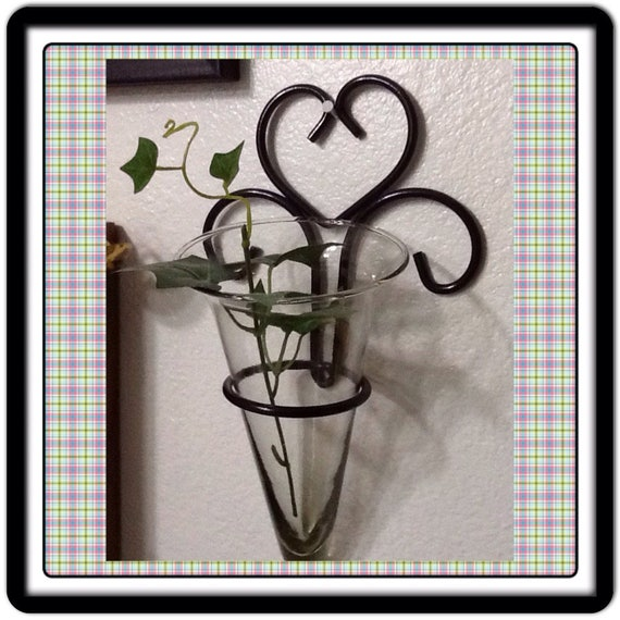 Wall Sconces That Hold Flowers: Candle Flower Holder Sconce Vintage Black Wrought Iron Wall