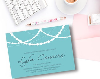 Sparkle and Pearls Bridal Shower (A7) 5x7 Invitation - DIY Printable or Printed | Bridal Shower Invitation