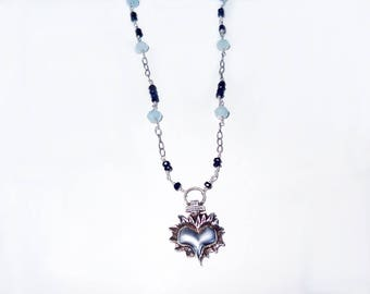 Aquamarine and Sapphire Sacred Heart Pendant, Heart Necklace,One of a Kind Necklace,Flaming Heart Necklace,Statement Jewelry