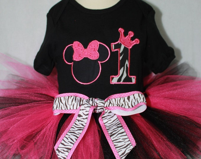 Minnie Mouse inspired first birthday outfit,Girl 1st birthday, Zebra print birthday outfit, Hot pink and black Birthday tutu, Birthday bib