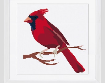 Cardinal Cross stitch pattern, Cardinal cross stitch, Cardinal modern cross stitch pattern, cardinal counted cross stitch pattern