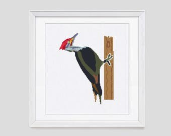 Modern cross stitch pattern, Woodpecker cross stitch pattern, counted cross stitch pattern