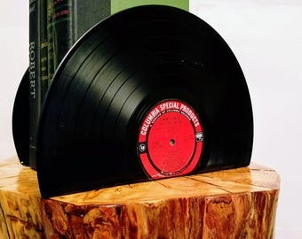Vinyl Record Bookends - Vintage Bookends for the music enthusiast add charm & warmth to any room.  Hand Crafted From Recycled vinyl records