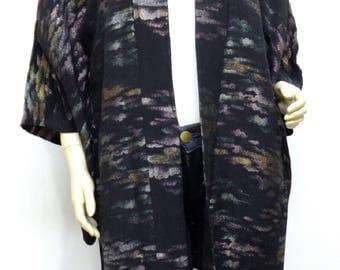 580  Japanese, Silk, Kimono, Haori, Vintage Coat