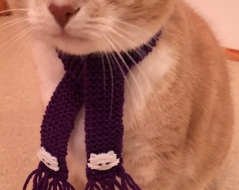 Scarf for cat or small dog, purple cat scarf, knitted cat scarf, handmade cat scarf, Bob the street cat scarf, persian cat scarf, cat scarf