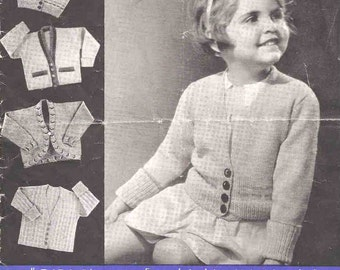 Vintage Knitting Pattern pdf~Four Girls' Cardigans~4ply & 3ply~4-5 years~Instant Download