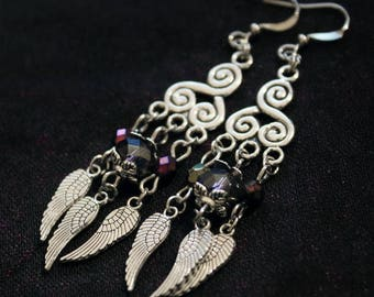 Earrings American ties with triskell, purple pearls silver metal connectors and wings charms