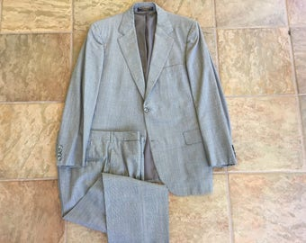 BROOKS BROTHERS Glen Plaid Wool Gray Sack Suit 42 R/L 3/2 Roll Ivy League Trad
