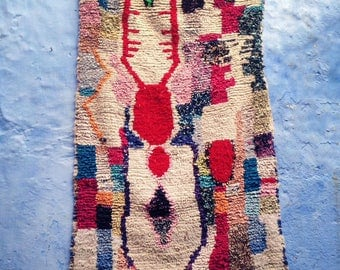 "BOUCHEROUITE RUG | Moroccan Rug | Vintage Rug | Rag Rug | Tapestry | Art | 6ft x 3'5""ft"