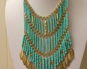 Turquoise Necklace, Waterfall Necklace, Turquoise Bib Necklace, South Western Necklace, Fringed Necklace, Tassel Necklace, Festival Necklace