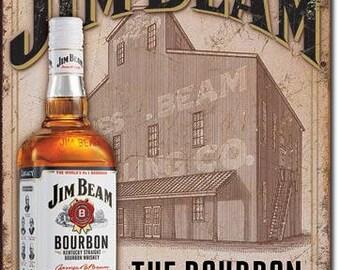 "Tin Sign "" Jim Beam Bourbon Whiskey "" 16""x12"" Man Cave"