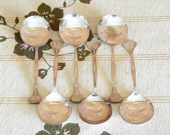 Art Nouveau 1915 EPNS silver plate soup spoons set of 6