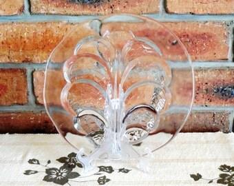 Lars Hellsten Orrefors crystal glass plate Eden Tree of Life pattern Sweden 1974