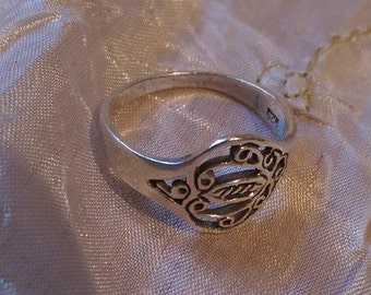 925 Silver Ring Fretted and patterned