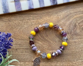 Hamsa Bracelet Colorful Bracelet Ethnic Bracelet Crystal Bracelet Stretch Bracelet Purple Bracelet Bohemian Jewelry Boho Chic Gift for her