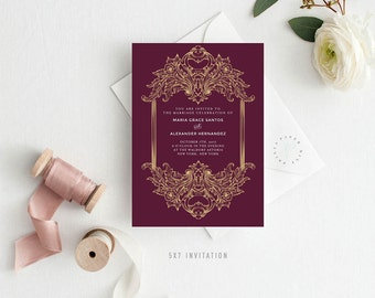 MARIA SUITE || Printable Wedding Suite, Golden Emblem, Emblem, Burgundy, Gold, Invitation, Thank You, RSVP