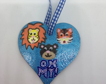 Lions Tigers and Bears Oh My! Hanging Heart, Heart Plaque, Wizard of Oz Heart Decoration