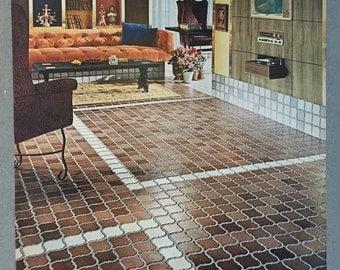 1967 Kentile Vinyl Floors Print Ad - Moda Moresca - 1960s Styles