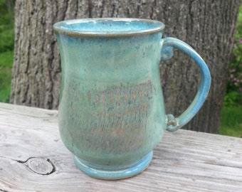 Ceramic mug handmade. Stoneware mug. Turquoise mug. Coffee mug. Large mug. Big ceramic handmade coffee mug made from stoneware clay. Mug.