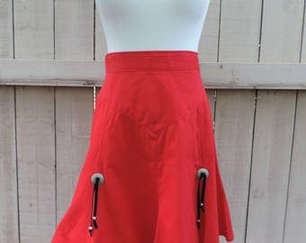 Vintage Circle T Cowgirl High Waisted Red Western Concho Skirt Southwestern Small Medium