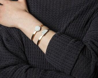 White Marble Bracelet, Half Moon Bracelet, Easter Basket Gift, Adjustable Cuff Hexagon Bracelet, White Stone Cuff, Dainty Cuff