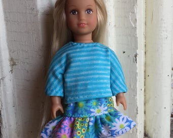 """Doll clothes for  6"""" mini dolls:  flowered skirt with striped top"""