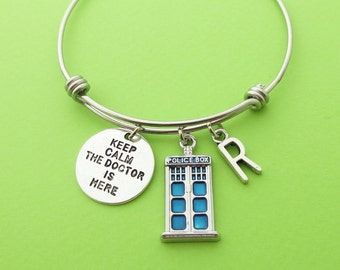Personalized, Letter, Initial, Police box, Keep calm The doctor is here, Bangle, Bracelet, Doctor who, Police, Box, Doctor, Bangle