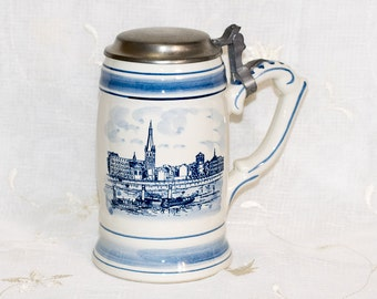 Royal Delft Tankard with Pewter Lid - Made in Holland