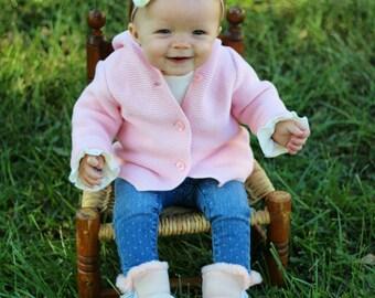 Cream Baby Girl Headband / Baby Girl Headband Ivory / Nylon Headband / Baby Girl Headband Cream