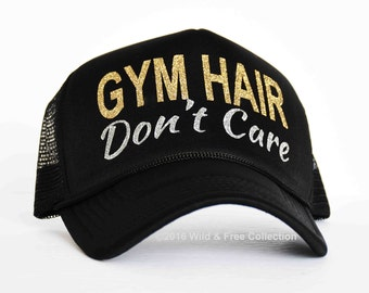 Gym Hair Don't Care Trucker Hat | Fitness Snapback Hat | Workout Trucker Hat