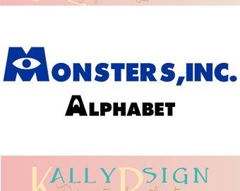 Monsters inc SVG, alphabet letters, svg fonts, monogram fonts, disney svg,  disney alphabet, disney monogram svg, monsters inc Party,