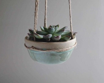 Turquoise Stoneware Hanging Planter - Ready to Ship