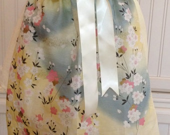 Vintage half apron shabby chic hankies in cherry blossoms with cream satin ribbon ties