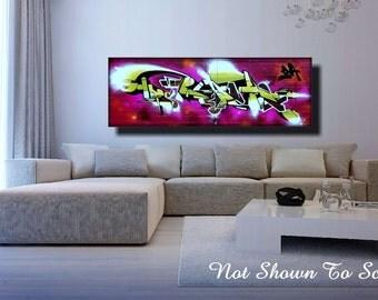 Graffiti Art Canvas, Large Canvas Art, Large Wall Art Canvas, Graffiti Art, Canvas Art, Graffiti On Canvas, Industrial Wall Art, Graffiti