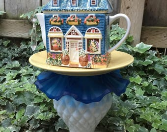 Tea Pot Totem, Garden Art, Vintage Glass, Yard Art