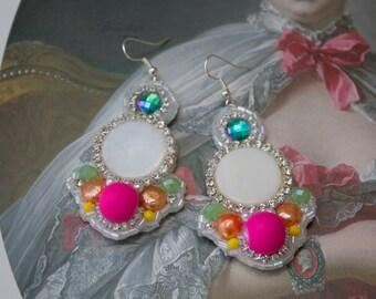 Neon Pink Rainbow Statement Earrings; Mermaid Earrings; Rainbow Earrings, Lisa Frank Earrings, Neon Earrings, Iridescent Earrings