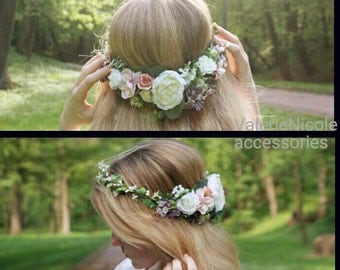 White Purple Flower crown Floral crown Flower halo Wedding flower crown   Fower girl  crown Flower hair wreath Hair flower crown