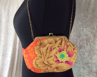 Alice Brocade Peony frame bag Kaffe Fassett design fabric small Frame handbag purse makeup bag handmade in England