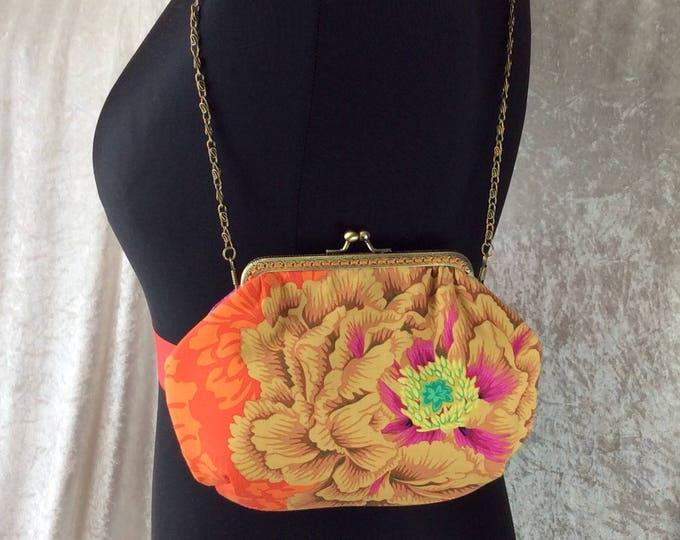 Alice Brocade Peony frame bag Kaffe Fassett design fabric small Frame handbag purse makeup bag handmade in England