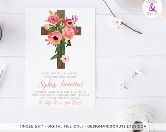Baptism Invitation, Girl Printable, Floral, Christening Invitation  [301]