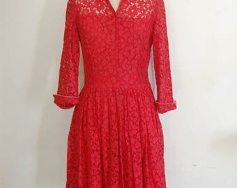 Vintage 1950's Red Lace Party Day Dress  Size S-M
