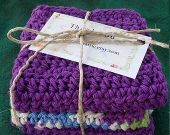 Crochet dish cloths, wash cloths, kitchen decor.  Ready to ship!