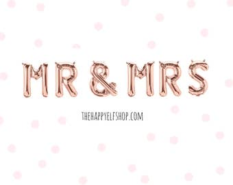 "16"" Rose gold MR & MRS balloons/banner. Bridal shower balloons. engagement party balloons. engagement balloon. mr and mrs. bridal party."